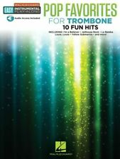 Pop Favorites Trombone Easy Instrumental Play-along Book With Online Audio