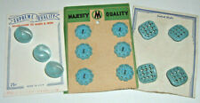 3 Cards of Very Nice Pierced & Pearlized Vintage Aqua Blue Plastic Buttons