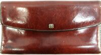 Bosca Women Wallet Hand Stained Hide  Leather Brown Made In The USA