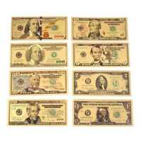 8PCS Gold Dollar Bill Full Set Gold Banknote Colorful USD 1/2/5/10/20/50/100