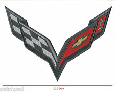 "CORVETTE CORVETTE RACE TEAM CORVETTE RACING C-7 IRON ON GOLD THREADS 10.5"" PATCH"