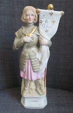 JEANNE D'ARC statuette en biscuit polychrome vers 1900
