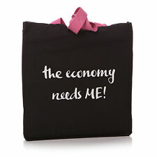 la economía Needs Me Algodón Negro Bolso shopper – Bolsas de tela reutilizables