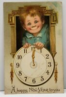 Happy New Year Tuck Boy & Clock Frances Brundage 1908 Postcard G13