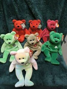 Lot of 7 Ty Beanie Babies & Bamm Beanos Bears