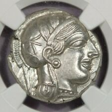 440-404 BC AR Tetradrachm Attica, Athens NGC Ch AU rv owl, olive spray, moon B2
