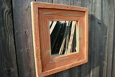 Reclaimed Cedar Square Distressed Rustic Handmade Red Wall Mirror Home Decor