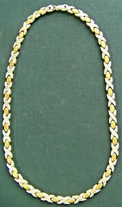 """Mexico 925 Sterling Silver & Brass 17"""" Link Necklace w/Spring Latch 50gr"""