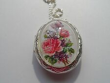 VICTORIAN BUTTERFLY ROSE  FLORAL LOCKET