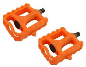 "New! Original 1/2"" Bicycle PVC Platform Pedals In Orange."