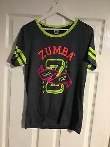 ZUMBA ladies grey logo detail sports top tshirt - Medium