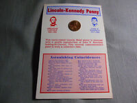 """1974 Lincoln Kennedy Inset Cent D Penny Astonishing Coincidences 4""""x 6"""" Card"""