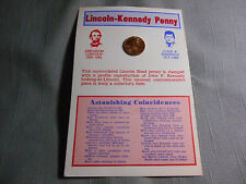 "1974 Lincoln Kennedy Inset Cent D Penny Astonishing Coincidences 4""x 6"" Card"