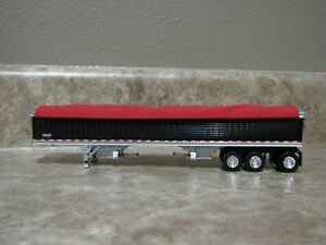DCP 1/64 Wilson Red Tarp Black Tri-axle Hopper Bottom Grain Trailer Farm Toy