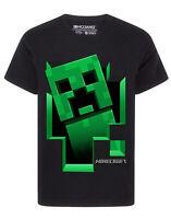 Minecraft Creeper Inside Boy's Black Short Sleeve T-Shirt