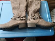 NEW! SO Women's Casual High Boots, low wedge heel, 6 1/2 med, Garland Grey 73277