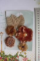 LATTE Rose All Fabric 4 Flower Mix 35-75mm across + 3 BURLAP Leaves Green Tara E