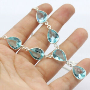"""Blue Topaz 925 Silver Plated Handmade Gemstone Necklace of  18"""" Ethnic Gift"""