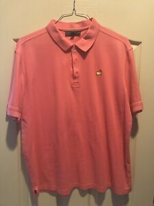Masters Augusta Mens XL Pink Logo Golf Polo Shirt Cotton Blend