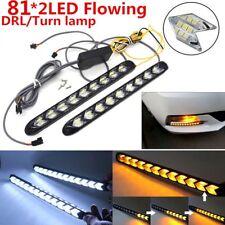 2x Car Flexible Strip Light Headlight Arrow Flasher DRL Turn Signal White/Amber