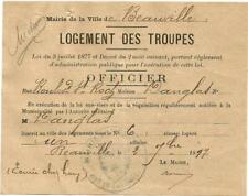 Beauville (47) Billet de Logement 1897 Pour loger 1 Officier Chez Mr Danglas.
