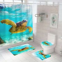 Turtle Bathroom Rug Set Shower Curtain Thick Non Slip Toilet Lid Cover Bath Mat