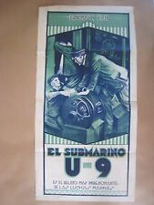 1927 Vintage Poster.' Submarine U-9 '.German Silent Movie.World War 1
