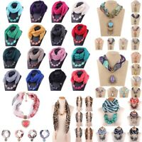 Women Fashion Scarf  Necklace Pendant Scarf Winter Ethnic Style Necklace Scarf