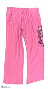 Woman's VICTORIA'S SECRET PINK Pink Sweat Pants Bottoms Junior Size Large L