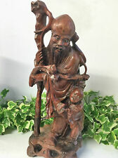 19th Century Boxwood Oriental Chinese Root Carving Of A Bearded Man & Child