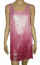 Dorothy Perkins Sparkly Sequin Shift Mini Party Dress/top PINK Size 8
