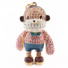 Year of the Monkey Pink Keychain Crystal Charm Cute Animal Purse Gift 01315