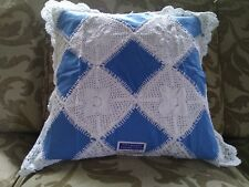 """LINEN LACE CUSHION COVER  18""""x 18"""" WHITE and BLUE  COLORED   HANDMADE"""