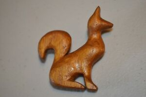 Herb Burgess Signed Fox Wood Carved Americana Folk Art Brooch Pin VTG 60s 70s