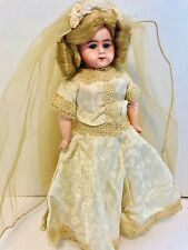 Antique Painted Celluloid Bride Doll 12� marked 1892 Patent Applied