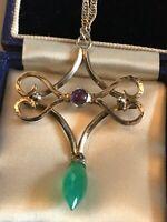 Vintage 1930 Deco Silver Amethyst Jade Necklace