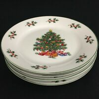 "Set of 4 Salad Plates 7"" by Noel Morning Stoneware Christmas Tree Holly Berries"