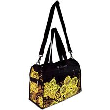 New Batik Hibiscus Canvas Duffel Bag Tote Black Gold Island Impressions Gym Bags