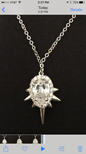 nOir Jewelry Drop Pendant Mini Punk Necklace SILVER Cubic Zirconia Spike Rhodium