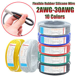 Flexible Rubber Silicone UL Wire Cable 200℃ 600V Tinned Copper Soft 2-30AWG
