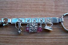 Handcrafted Quilt Quilting Block Iron Rotary Cutter Charm Key Ring Pink