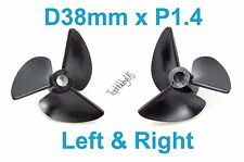 1 Set D38mm 3-Blades Left&Right P1.4 RC Boat Propellers, 4mm Shaft 038-06505-06