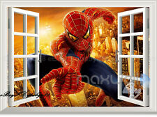 Large Spider Man 3D Window View scene Kids Wall Decals Sticker Home Nursery Art