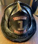 Antique Black Leather Cairns Fire Fireman Helmet Chief 1 fire department