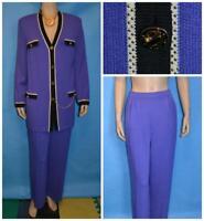St John Collection Purple Jacket Pants L 12 10 2pc Suit Black Trims Buttons