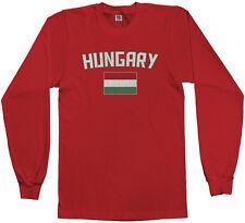 Threadrock Men's Hungary Flag Long Sleeve T-shirt Hungarian Budapest Soccer