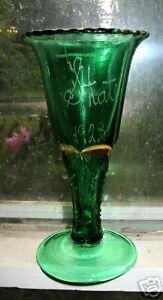 antique green glass vase real carnival trophy