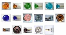 tiny cut glass drawer & cupboard pulls door knobs 22mm various colours
