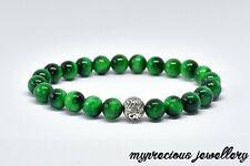 Natural Green Tiger Eye Beaded Silver Reiki Chakra Gemstone Bracelet Stone UK