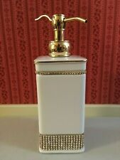 Bella Lux Bathroom Soap Dispenser Ceramic White Rhinestone NEW